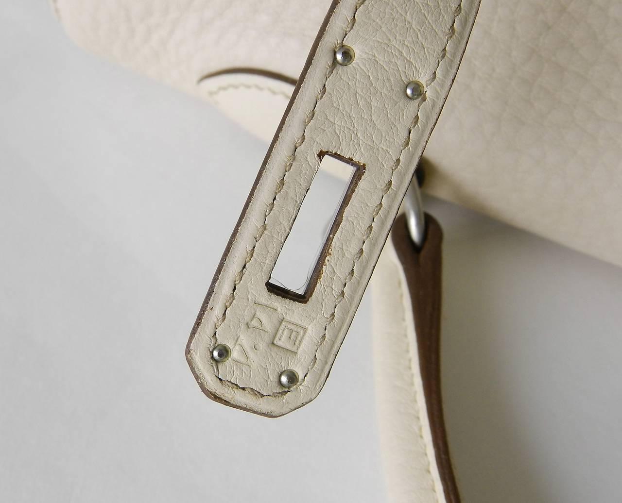 Hermes Kelly 35 Blanc Casse Brushed Palladium 9