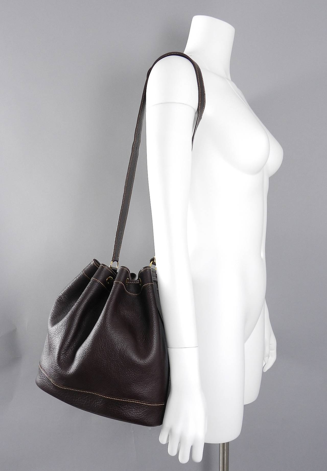 hermes constance bag price - Hermes Vintage 1999 Dark Brown Leather Market Bucket Bag at 1stdibs