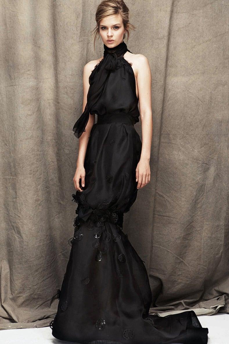 Nina Ricci 12P Black Embellished Silk Halter Gown 2