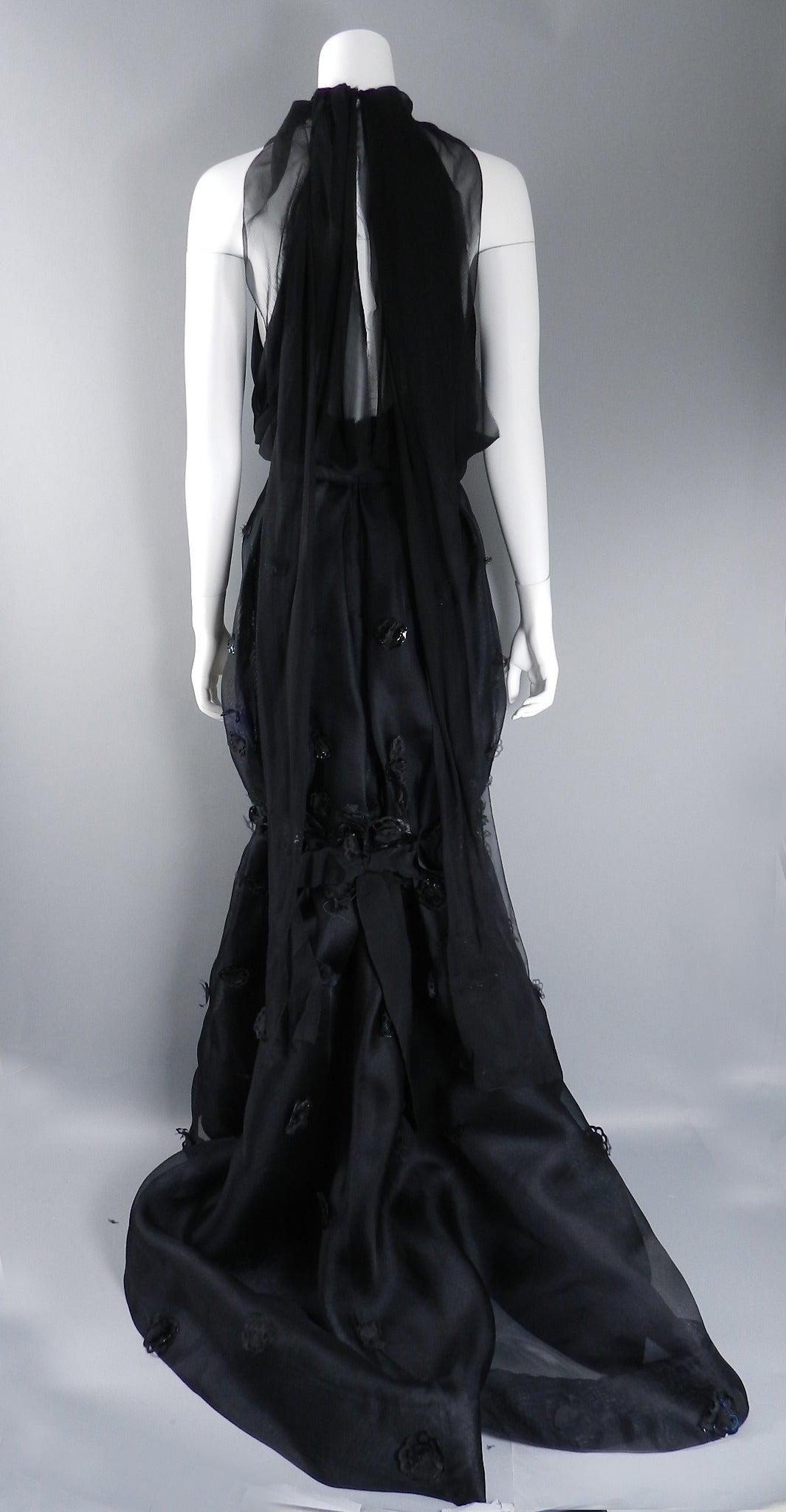 Nina Ricci 12P Black Embellished Silk Halter Gown 3