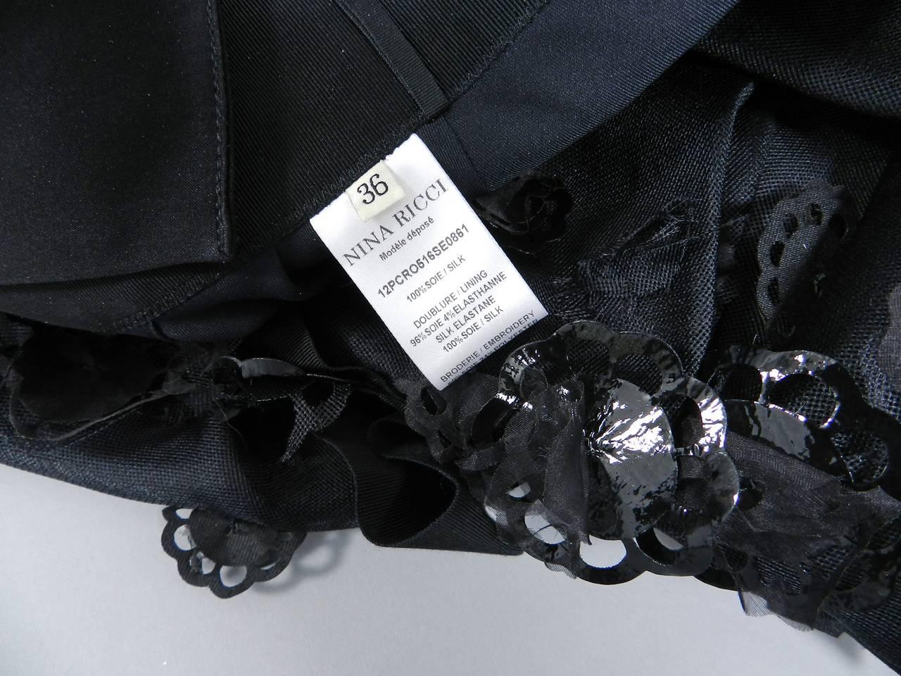 Nina Ricci 12P Black Embellished Silk Halter Gown 4