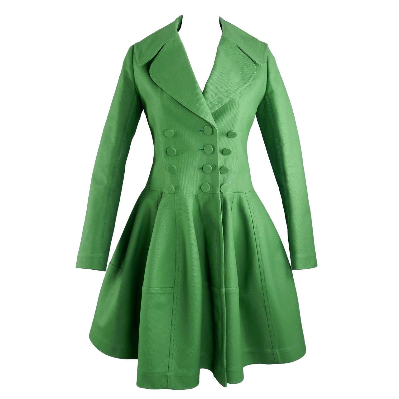 Alaia Spring Green Cotton Structured Coat 1