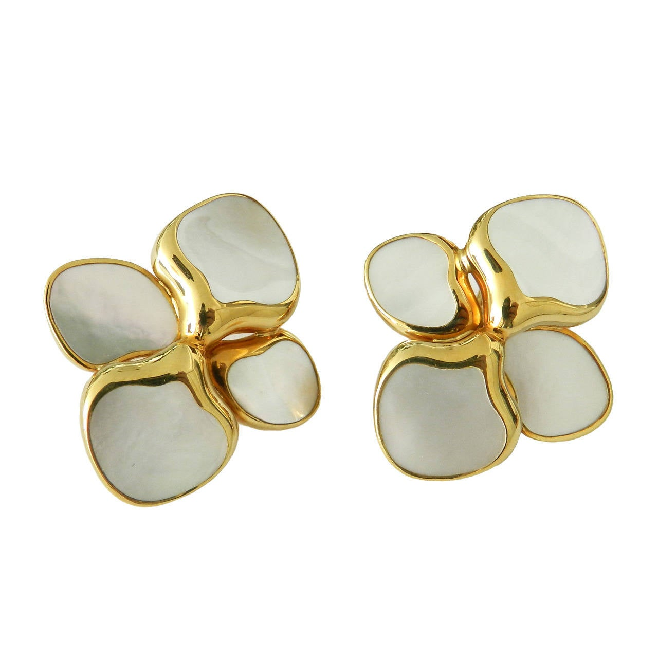 Angela Cummings Tiffany And Co Gold Mother Of Pearl Earrings 1