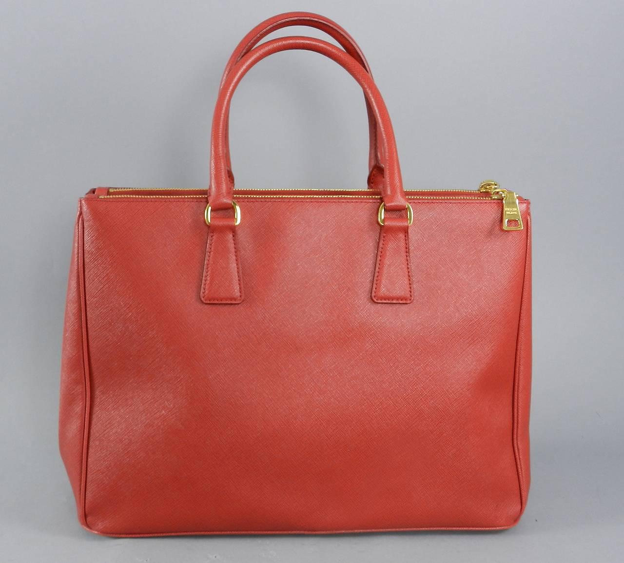 prada nylon messenger bags - Prada Red Saffiano Lux Double Zip Executive Tote at 1stdibs