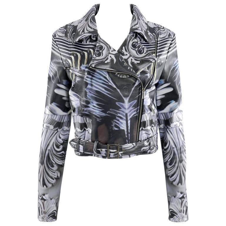 Mary Katrantzou Gray Photoprint Leather Motorcycle Jacket For Sale