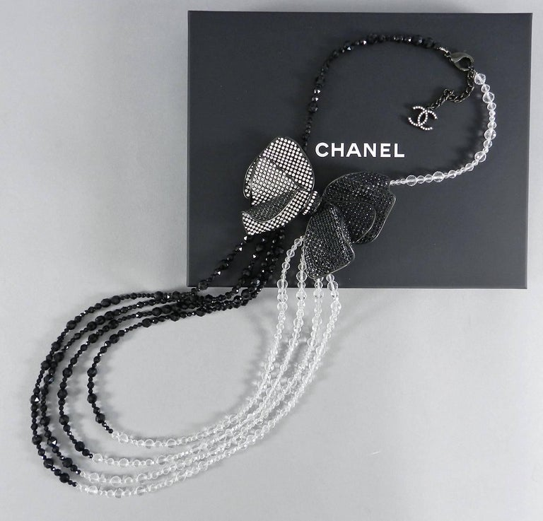 Chanel 09C Black and White Crystal Beaded Necklace with Mesh Bow 2