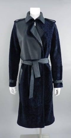 Mugler Pre-Fall 2015 Runway Navy Shearling Long Coat