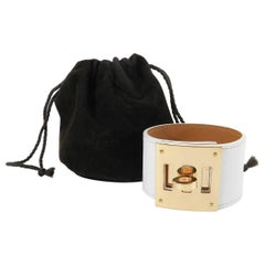 Hermes Kelly Dog Bracelet White Epsom Leather with Rose Gold Pm