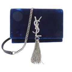 Saint Laurent Kate Tassel Blue Velvet and Rhinestone Crossbody Bag