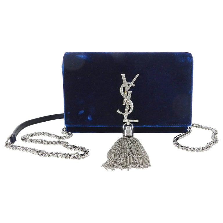 Saint Laurent Kate Tassel Blue Velvet And Rhinestone