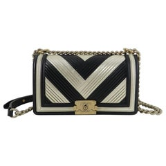 a70dad51a1df Chanel 16A Le Boy in Rome Medium Black and Gold Chevron Bag