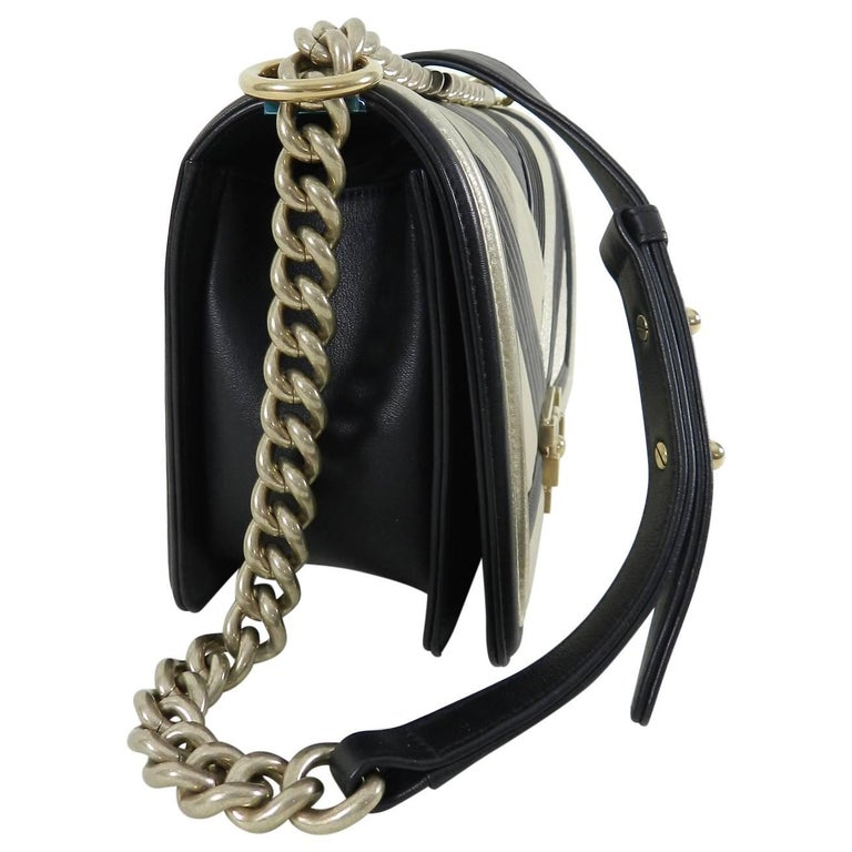 c43af6b1afde Chanel 16A Le Boy in Rome Medium Black and Gold Chevron Bag at 1stdibs
