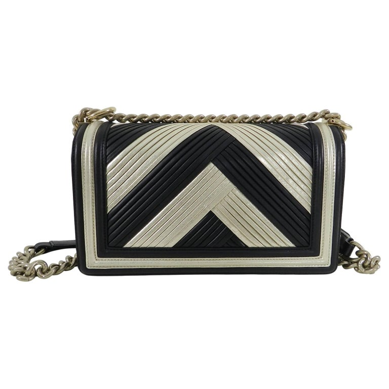 a301b2991b76 Limited edition hard. Chanel 16A Le Boy in Rome Medium Black and Gold  Chevron Bag In Excellent Condition For