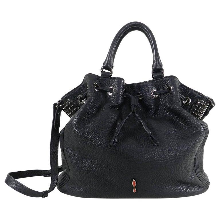 Christian Louboutin Black Leather Drawstring Studded Bag