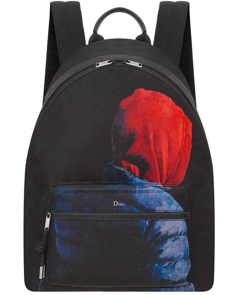 Black Christian Dior Homme – X Francois Bard spring 2018 Floral backpack  For Sale