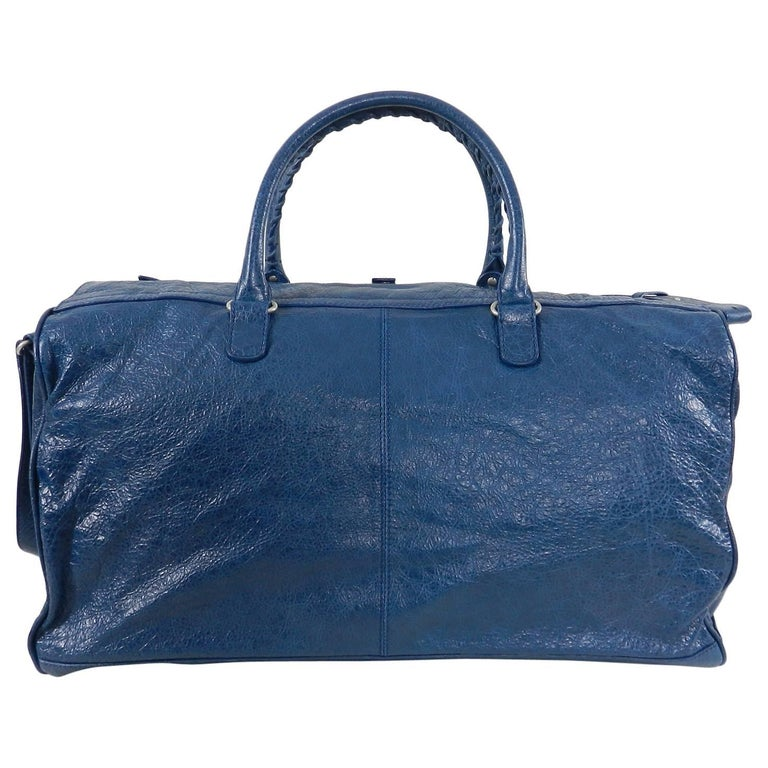 1c84165905 Balenciaga City Blue Giant Weekender Overnight Duffle Bag. Blue leather bag  with silvertone hardware and