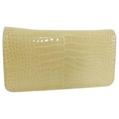 Manolo Blahnik Buttermilk Crocodile Clutch Bag with Strap