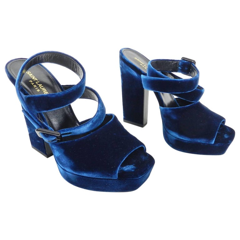 Saint Laurent Blue Velvet Debbie Platform Sandals - 39.5