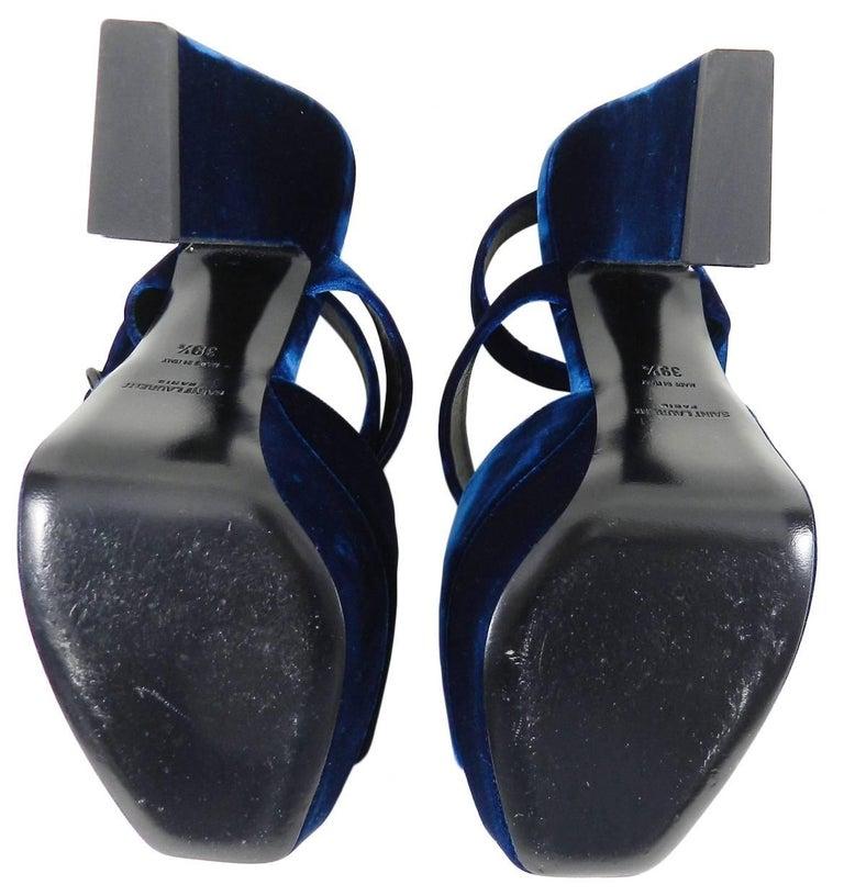 b2cc819d07c Black Saint Laurent Blue Velvet Debbie Platform Sandals - 39.5 For Sale
