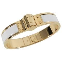 Hermes Charniere Uni Hinge Bracelet, White Enamel / Rose Gold PM