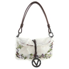 Valentino White fur Bag with Suede Flowers
