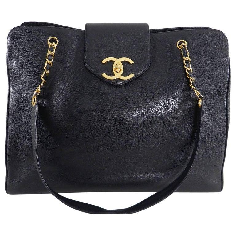 144d3252d91747 Chanel 1994 Vintage Overnight Jumbo XL Caviar Weekender Bag For Sale ...