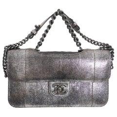 Chanel Fall 2012 Runway Silver Lizard Perfect Edge Medium Flap Bag