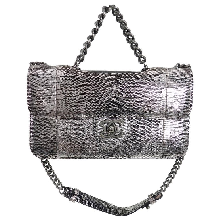 fb1b6b668deb Chanel Fall 2012 Runway Silver Lizard Perfect Edge Medium Flap Bag In  Excellent Condition For Sale