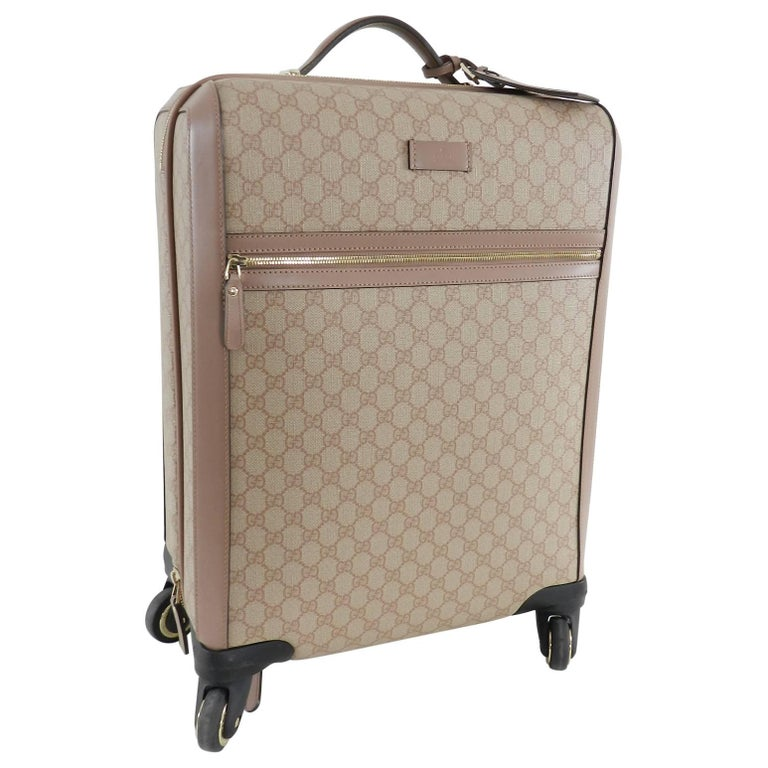 33a25b3f94b60b Gucci GG Supreme Monogram 4 Wheel Carry-on Luggage - Winter Rose For Sale