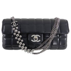 Chanel Chocolate Bar Black Leather Flap Bag with Silver Bead Chain
