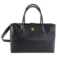 Chanel Black Executive Cerf Tote Bag Gold Hardware