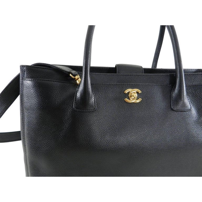 Chanel Black Executive Cerf Tote Bag Gold Hardware This Discontinued Is Perfect For Work