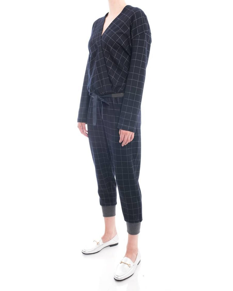 Black Brunello Cucinelli Navy Wool Check Jumpsuit with Grey Cuffs - M For Sale