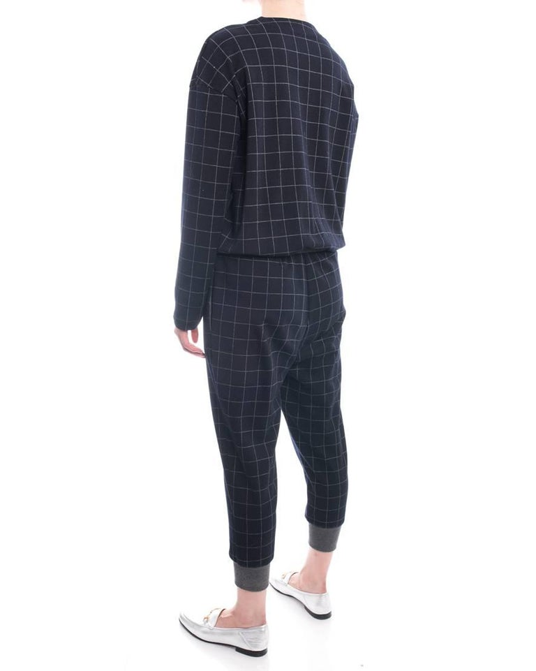 Brunello Cucinelli Navy Wool Check Jumpsuit with Grey Cuffs - M In Excellent Condition For Sale In Toronto, ON