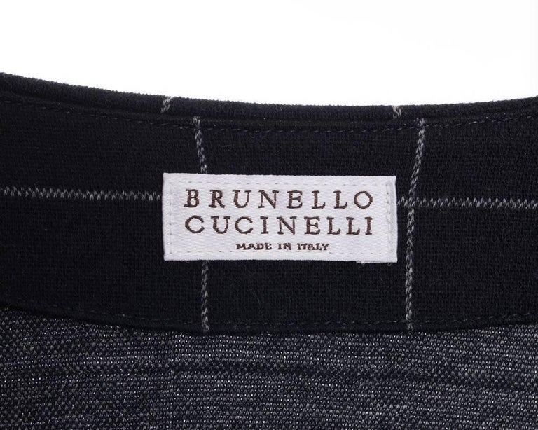 Brunello Cucinelli Navy Wool Check Jumpsuit with Grey Cuffs - M For Sale 2