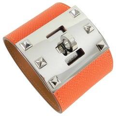 Hermes Kelly Extreme Orange Epsom Leather Cuff Bracelet