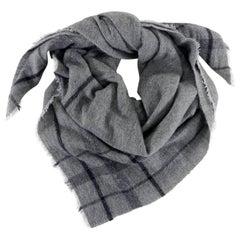 Brunello Cucinelli Grey Large Square Check Cashmere Shawl Wrap