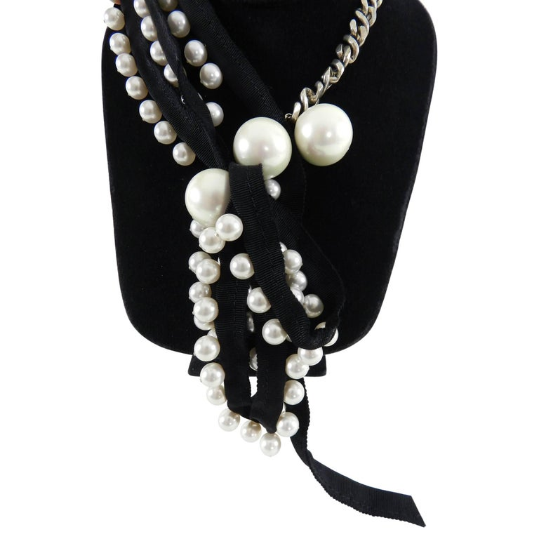 Lanvin Pearl Necklace: Lanvin Pearl And Ribbon Chain Necklace With Rhinestones