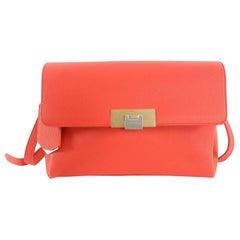 Balenciaga Le Dix Hot Coral Soft Courrier Leather Crossbody Bag