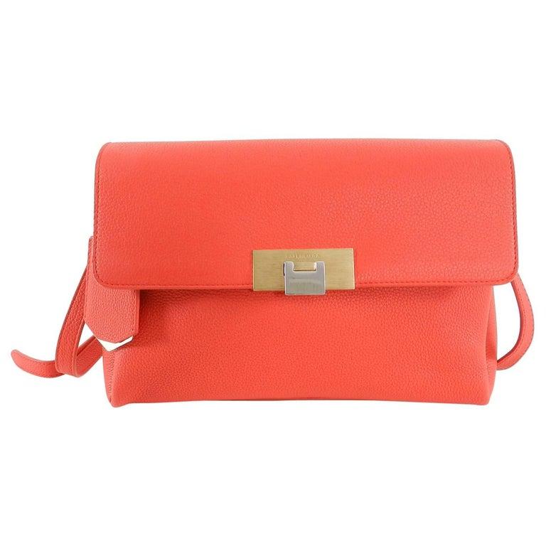 4bb4b7682d Balenciaga Le Dix Hot Coral Soft Courrier Leather Crossbody Bag For Sale