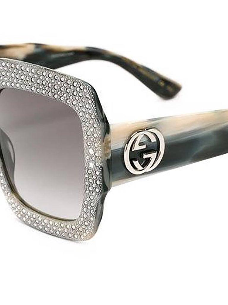 4b472be7b22 Gray Gucci Grey Rhinestone Crystal Oversize Square Sunglasses