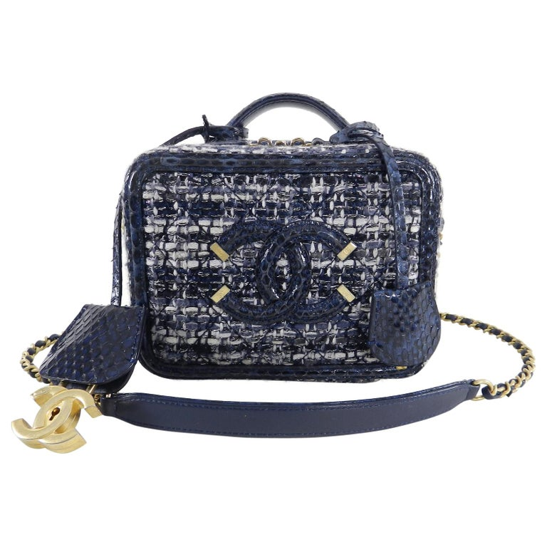 08bc959f498a Chanel Blue Python CC Filigree Vanity Case Bag