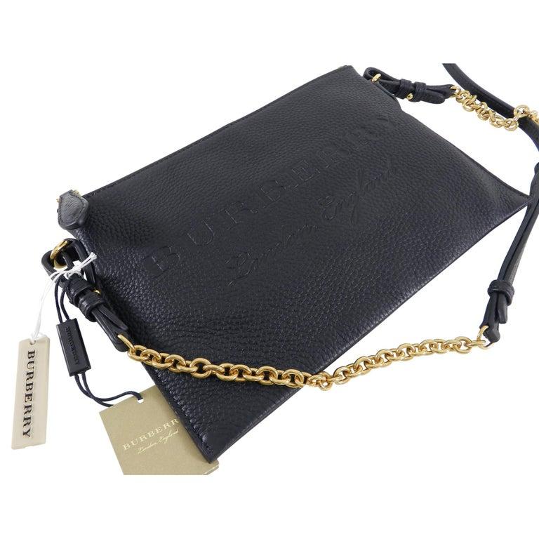 Burberry Black Peyton Embossed Logo Zip Crossbody Bag at 1stdibs ba10d405bb