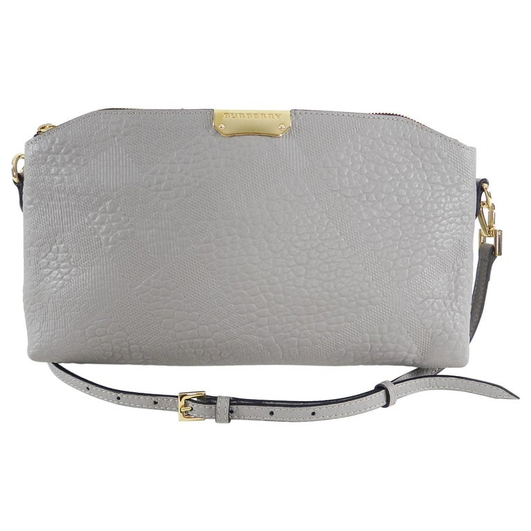 a10d1836c99a Burberry Grey Peyton Embossed Check Crossbody Bag at 1stdibs