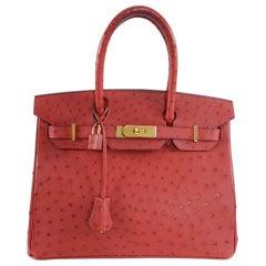 Hermes Rouge Vif Ostrich Gold Hardware Birkin 30cm Bag