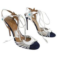 Aquazzura by Poppy Delevingne Midnight Navy and Silver Sandals