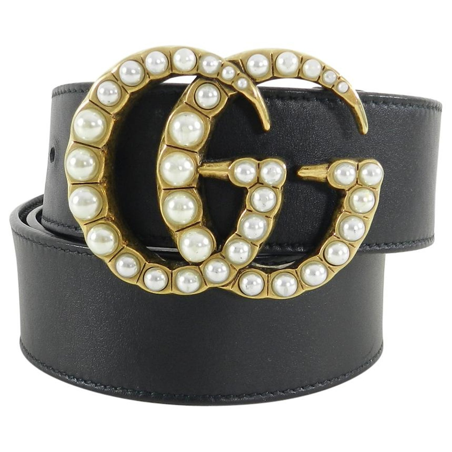 ef9d8a31575357 Gucci Marmont Pearl GG Buckle Belt at 1stdibs