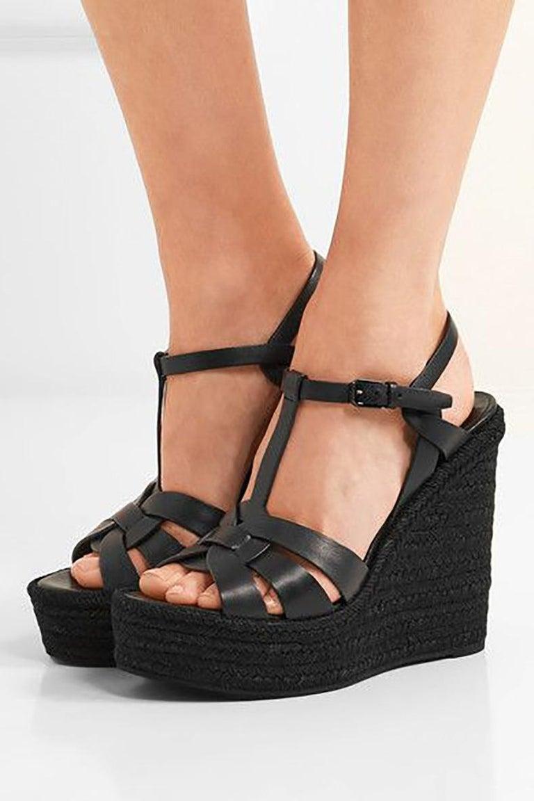 8ecea9f4a5085 Saint Laurent Black Tribute Espadrille Wedge Sandals. Original retail $1022  CAD - current season.