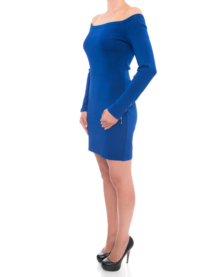 306bdfeebcc Balmain Cobalt Blue Off Shoulder Bodycon Dress. Silver zippers at centre  back and cuffs