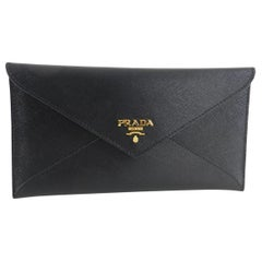 Prada Black Saffiano Leather Envelope Wallet